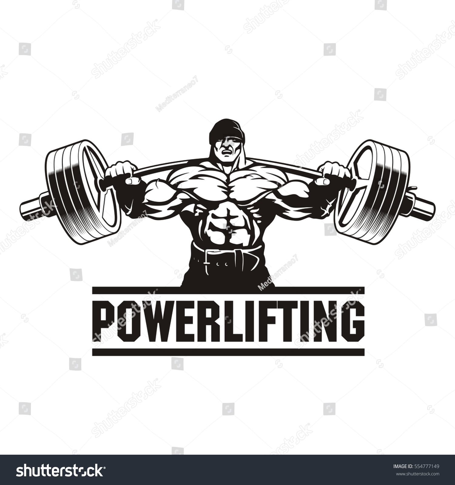 Stock vector strong man lifting weight powerlifting vector illustration 554777149
